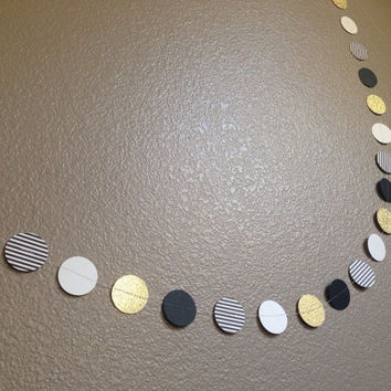 Black and white striped gold glitter dot paper garland nursery decor photo prop
