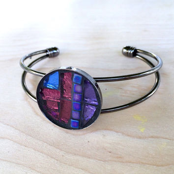 Mosaic Glass Gunmetal Bracelet, Modern Circle Bracelet, Glass Boho Bracelet, Colorful Statement Jewelry, Metallic Purple Statement Bracelet