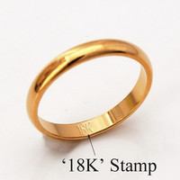 "Simple Band Rings With ""18K"" Stamp Quality 18K Real Gold Plated Women Men Jewelry Classic Wedding Band Rings U7 = 1931900420"