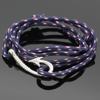 Fashion Nautical Rope Bracelet Men's Anchor Bracelets Friend Nautical Anchor Sailor Fish Hook Rope Bracelet for Men Marin YG022