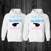 "2 matching ""she's my favorite weirdo"" white hoodies"