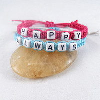 Couples Bracelets Set, happy always Bracelets, bracelet for Couples ,Set of 2 , Personalized Jewelry , Anniversary Gifts, Bridesmaid103104