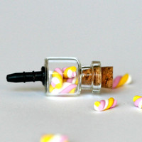 Anti dust plug for phone - Marshmallow bottle miniature kawaii Polymer clay