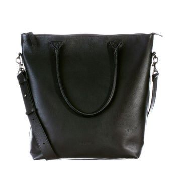 Leather Laptop Tote Black - Midi