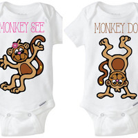 "Fraternal Twins Boy Girl Twins Gerber brand baby Onesuits - ""Monkey See, Monkey Do!"" baby girl & boy silly monkeys! Preemie Size Available!"