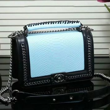 """CHANEL"" Trending Women Stylish Shopping Bag Leather Metal Chain Handbag Shoulder Bag Crossbody Satchel Blue I-LLBPFSH"