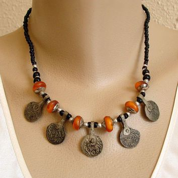 Old Coin and Amber Color Beads Vintage Necklace