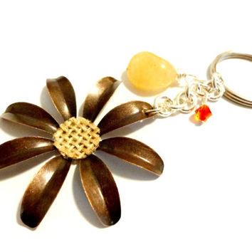 Cute Copper Flower Keychain, Yellow Jade and Swarovski Crystal Key Ring, Hippie Accessories