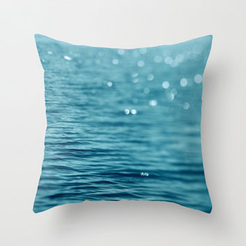Turquoise  pillow cover, abstract pillow, water ripples, bokeh sparkles, teal decorative pillow, couch cushion, ocean pillow, beach pillow