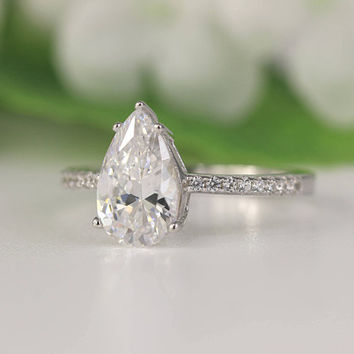 2.66 ctw Pear Engagement ring, Pear Cut Ring, Pearl Solitaire Ring, Diamond Simulant CZ Pear Cut Ring, Pear Promise Ring, Unique Ring Silver