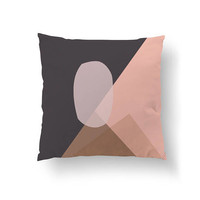 Pink Brown Pillow, Throw Pillow, Cushion Cover, Simple Art, Mid Century Decor, Home Decor, Abstract Shapes, Decorative Pillow, Textured Art