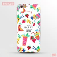 Enjoy Happy Cocktails Drinks & Fruit Collage Ultrathin Soft TPU Back Case Cover Shell for iPhone 5 5s SE 6 6s 6 Plus 6s Plus 7