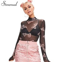 Simenual Half turtleneck mesh long sleeve bodysuit women clothing 2017 hollow out see-through fitness bodysuits sexy body femme