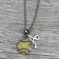 Personalized Softball Rhinestone Necklace- Letter