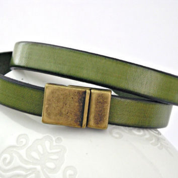Olive green leather bracelet double wrapped by TyssHandmadeJewelry