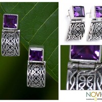 Sterling Silver Amethyst Drop Earrings - Balinese Chic | NOVICA