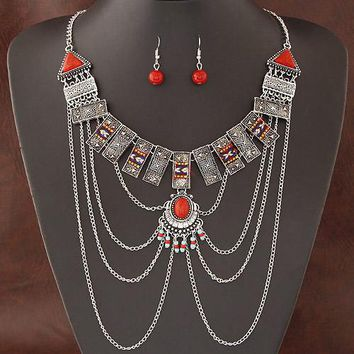 African Jewelry Sets Multi Chain Necklace Earring Ethnic Super Big Jewelry Set Indian