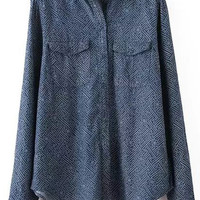 Navy Blue Dot Pattern Lapel Long Sleeve Blouse