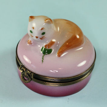 Limoges Pink Porcelain Kitten Trinket Box Orignal Box
