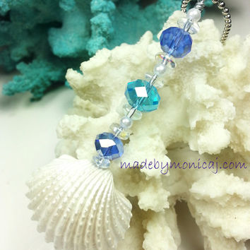 Beach Theme Rear View Mirror Ornament.  White Ark Shells with Ocean Blue and Aqua Crystal Beads. Seashell Sun Catcher.