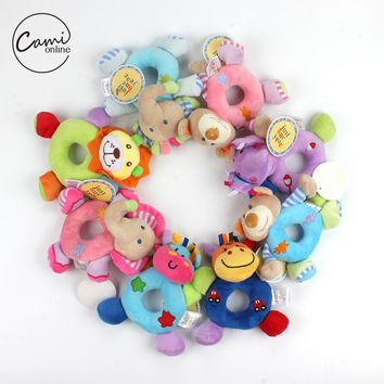Baby Cartoon Animal Shape Bear Rattle Bell Newborn Hand Grasp Toys Soft Plush Infant Rattle Bells Crib Multifunction Dolls