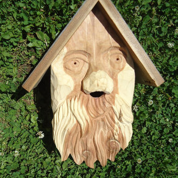 Unique hand carved birdhouse - Cedar wood birdhouse - Reclaimed barn board - Salvaged barn boards - Rustic decor - Outdoor birdhouse - Folk