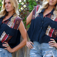 Vtg 80s Black Southwestern Country Western Tribal Native Cropped Blouse size sm- large