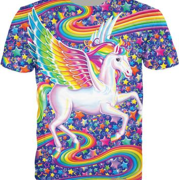 Sky Star Harajuku Tee Rainbow Unicorn 3D Printed T-Shirt Casual Style Crewneck Hipster Aesthetic Short Sleeve Outfits Trendy Top