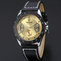 Casual Black Leather Strap  Automatic Mechanical Watch Men