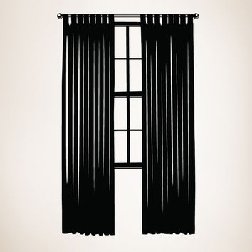 Vinyl Wall Decal Sticker Window With Long Curtains #OS_MB235