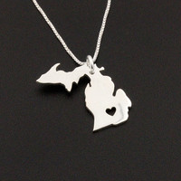 Michigan necklace Sterling Silver Michigan state necklace with heart comes with Box chain - Love Michigan