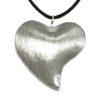 Heart Pendant Necklace, Handmade Brushed Sterling Silver Large  3 denominational Heart Pendant, Love Symbol handcrafted pendant