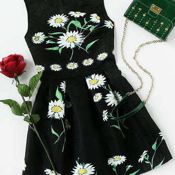 Black Round Neck Daisy Print Embossed A-Line Dress