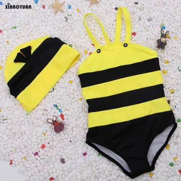 Bikini 2018 Girls Swimwear Biquinis Bee Modeling Children's Bathing Suit Baby Girl Kid's Swimsuit With Cap Cover up