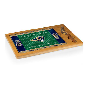 Los Angeles Rams - Icon Glass Top Serving Tray & Knife Set (Football Design)