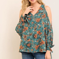 Teal Floral Cold Shoulder Blouse