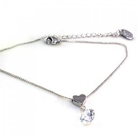 Cute Rhinestone Heart Decorated Anklet For Women
