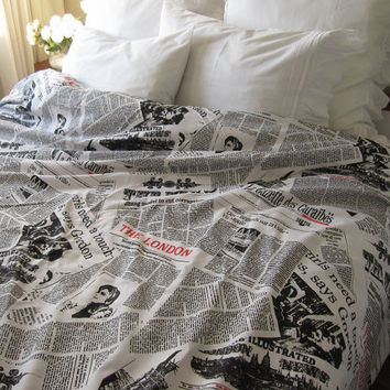 TWIN XL duvet cover Dorm Bedding  Newspaper print  by nurdanceyiz
