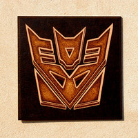Transformers Decepticon symbol woodburned home decoration