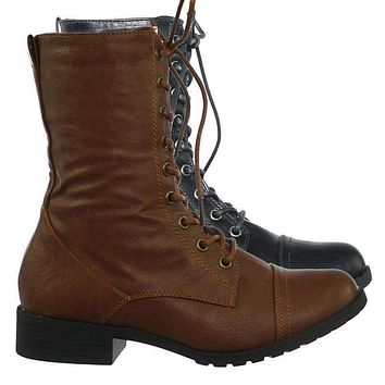 Jalen88 Lace Up Fashion Military Combat Boots w Block Heel and Lug Sole
