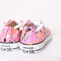 Adult Pink Low Top Splatter Painted Converse Sneakers Kids Size 4, Pink Punk Colors