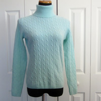 Vintage Mint Green Cashmere Turtleneck Sweater Womens Size Small Cable Knit Sweater Light Pale Green Turtleneck