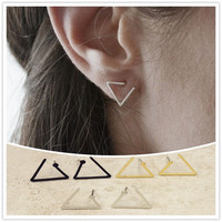 Geometric Triangle stud earrings Gold