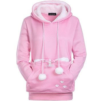 With front pocket women hoodies new female sweatshirt for lover cat kangaroo dog casual animal ear women sweatshirts