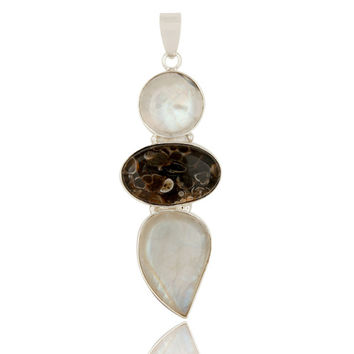 Rainbow Moonstone And Turritella Agate Solid Sterling Silver Gemstone Pendant