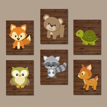 WOODLAND Nursery Wall Art, Woodland Nursery Decor, Wood Forest Animals, Woodland Theme Baby Shower, Canvas or Print, Set of 6 Decor Pictures