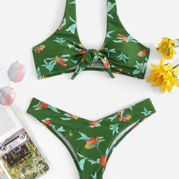 Floral Knot Front Top With Low Rise Bikini Set