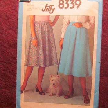 SALE Uncut 1970's Simplicity Sewing Pattern, 8339! 10-12 Sml/Medium/Women's/Misses Easy Jiffy Skirt with Elastic Waistband/Flared Skirts