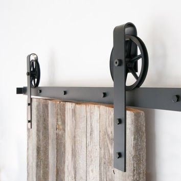 Vintage Industrial Spoked European Wide Strap Sliding Barn Door Closet Hardware set