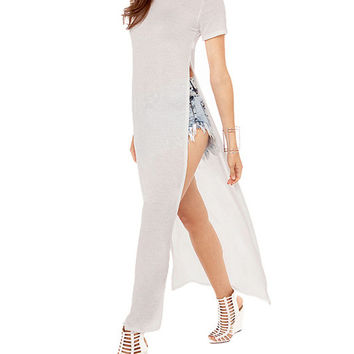 Short Sleeve Bodycon Slit Maxi Dress